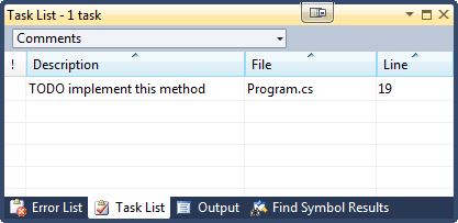 Visual Studio Task List