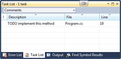 Visual Studio Task List