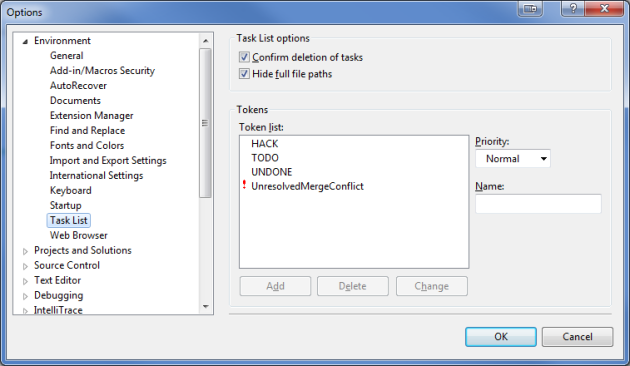 Visual Studio Task List Options